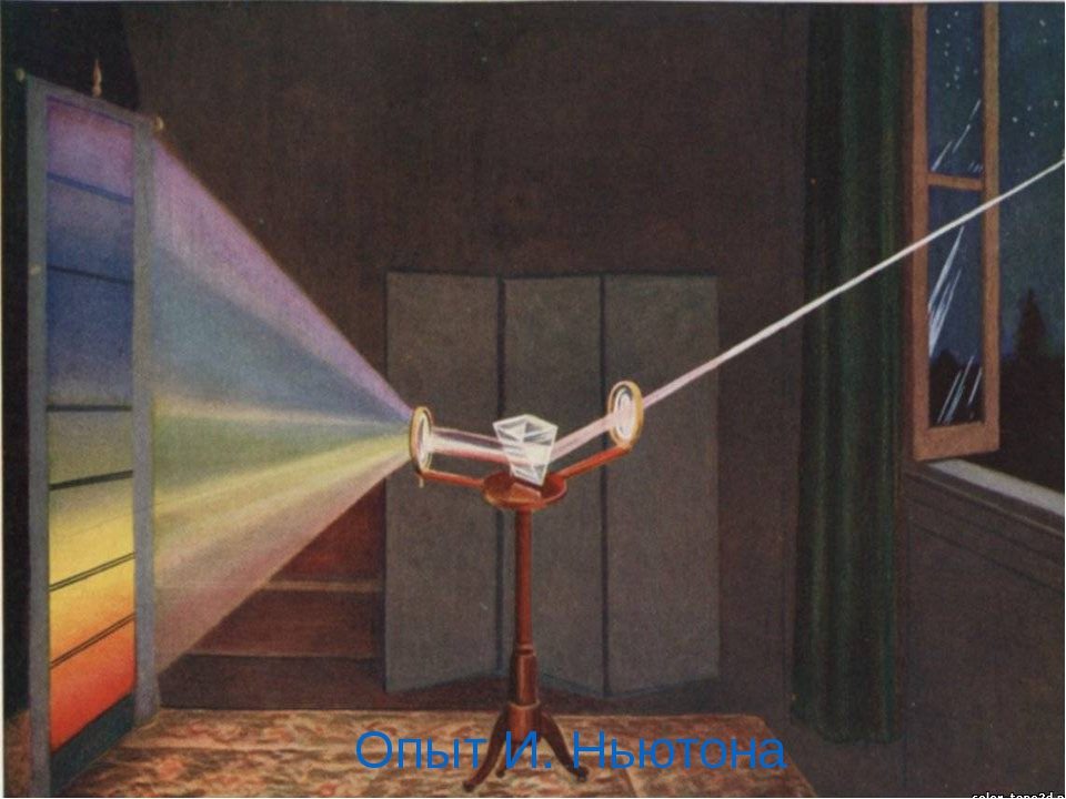 Опыт И. Ньютона Опыт Ньютона по разложению света – что изменилось в установк...