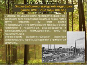 Эпоха фабрично-заводской индустрии (конец XVIII - 70-е годы XIX вв.) В лесно