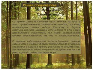 Со времен раннего Средневековья имелись на Руси и леса, принадлежавшие отдел