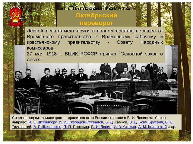 Октябрьский переворот Совет народных комиссаров— правительство России во гл...
