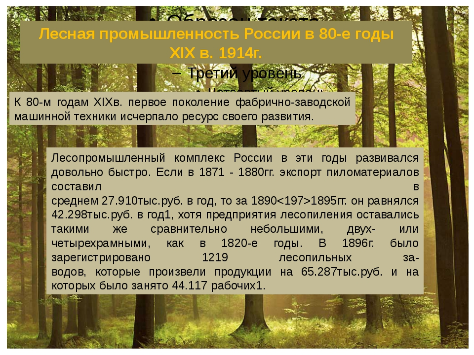 Лесная промышленность России в 80-е годы XIX в. 1914г. К 80-м годам XIXв. пе...