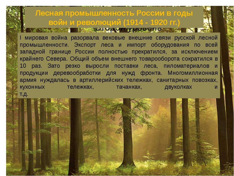 Лесная промышленность России в годы войн и революций (1914 - 1920 гг.) I мир...