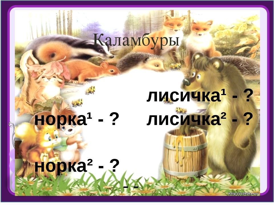 Каламбуры норка¹ - ? норка² - ? лисичка¹ - ? лисичка² - ? - зверек, -маленька...