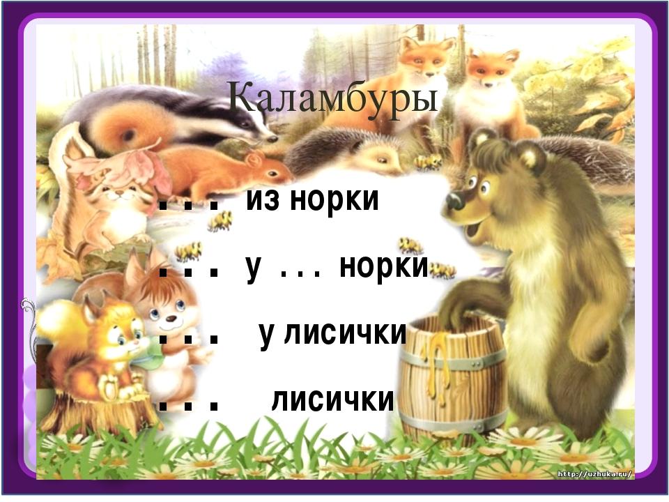 Каламбуры . . . из норки . . . у . . . норки . . . у лисички . . . лисички