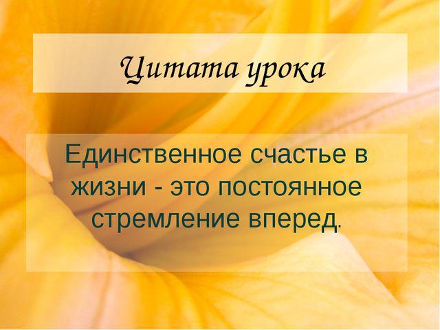 Цитата урока Единственное счастье в жизни - это постоянное стремление вперед.