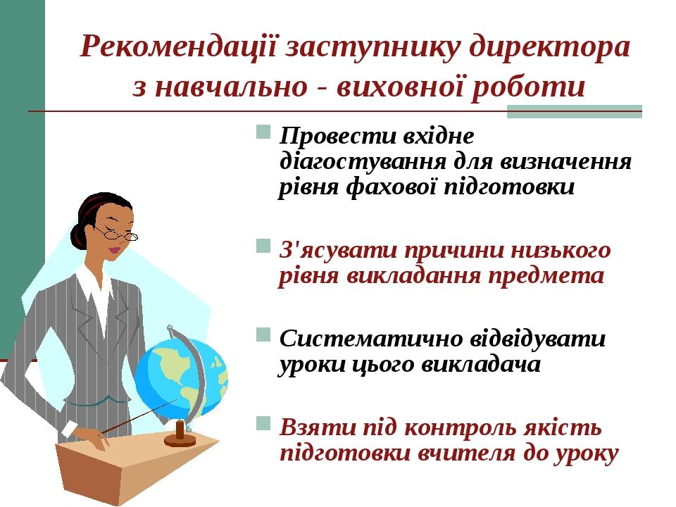 Рекомендації заступнику директора з навчально - виховної роботи Провести вхід...