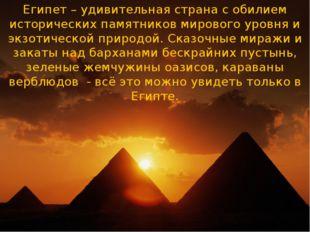 Египет – удивительная страна с обилием исторических памятников мирового уровн
