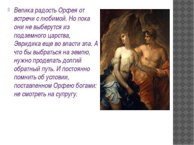 Велика радость Орфея от встречи с любимой. Но пока они не выберутся из подзе...