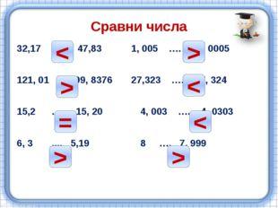 Сравни числа 32,17 …. 47,83 1, 005 …. 1, 0005 121, 01 …. 99, 8376 27,323 …. 2