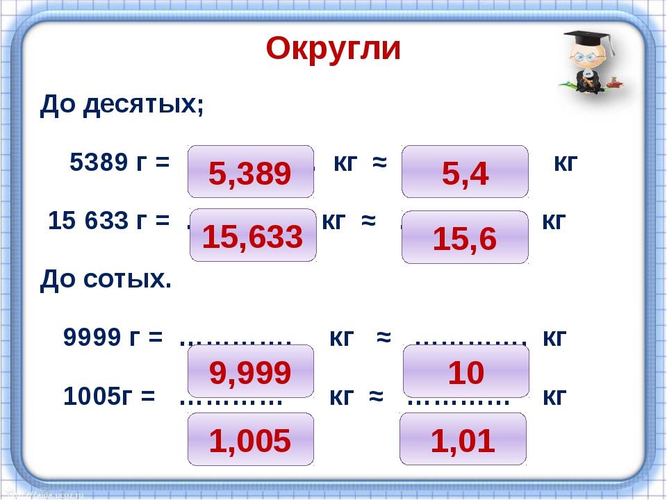 Округли До десятых; 5389 г = …………… кг ≈ …………. кг 15 633 г = ………….. кг ≈ …………....