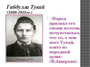Габдулла Тукай (1886-1913гг.) «Народ признал его своим поэтом, почувствовал,