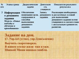 Задание на дом. §7. Упр.4,8 (устно), упр.5(письменно) Выучить скороговорки. В