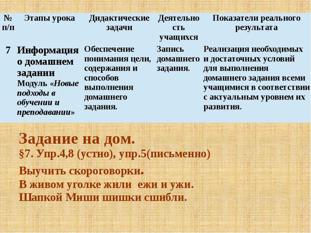 Задание на дом. §7. Упр.4,8 (устно), упр.5(письменно) Выучить скороговорки. В...