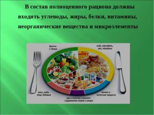 В состав полноценного рациона должны входить углеводы, жиры, белки, витамины,