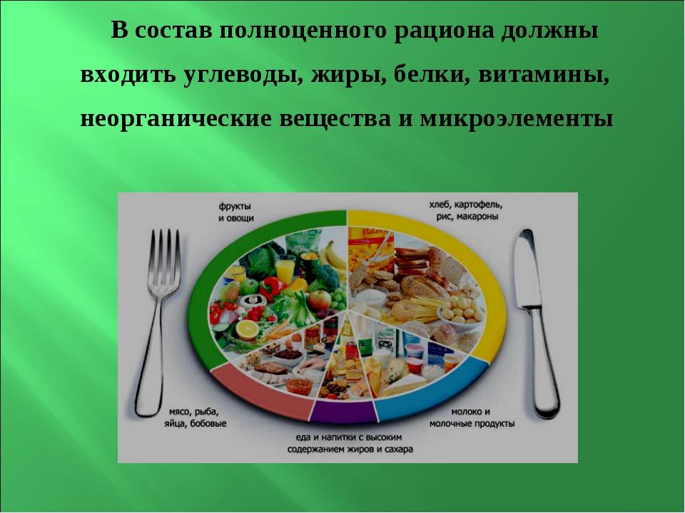 В состав полноценного рациона должны входить углеводы, жиры, белки, витамины,...