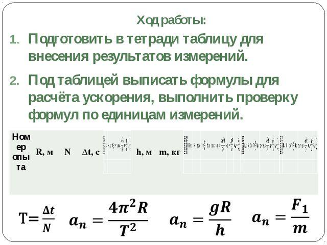 Ход работы: Подготовить в тетради таблицу для внесения результатов измерений....