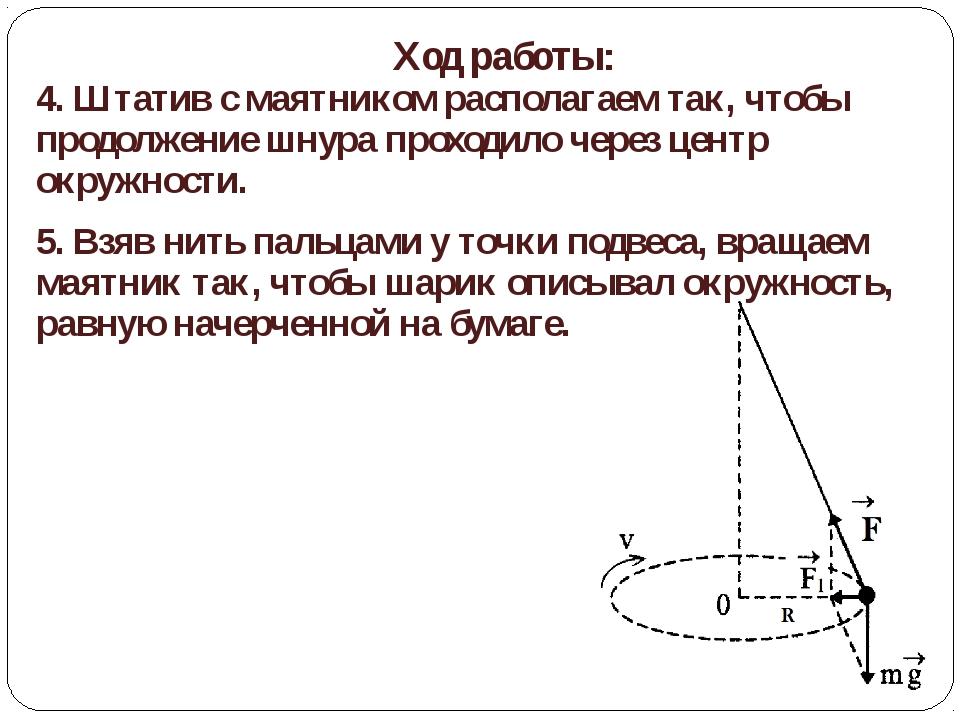 Ход работы: 4. Штатив с маятником располагаем так, чтобы продолжение шнура пр...