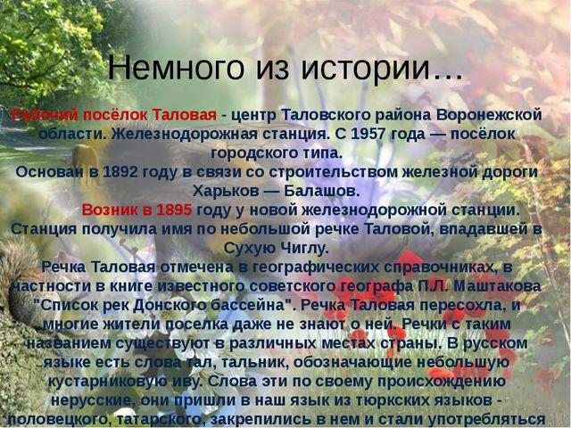 Рабочий посёлок Таловая - центр Таловского района Воронежской области. Желез...