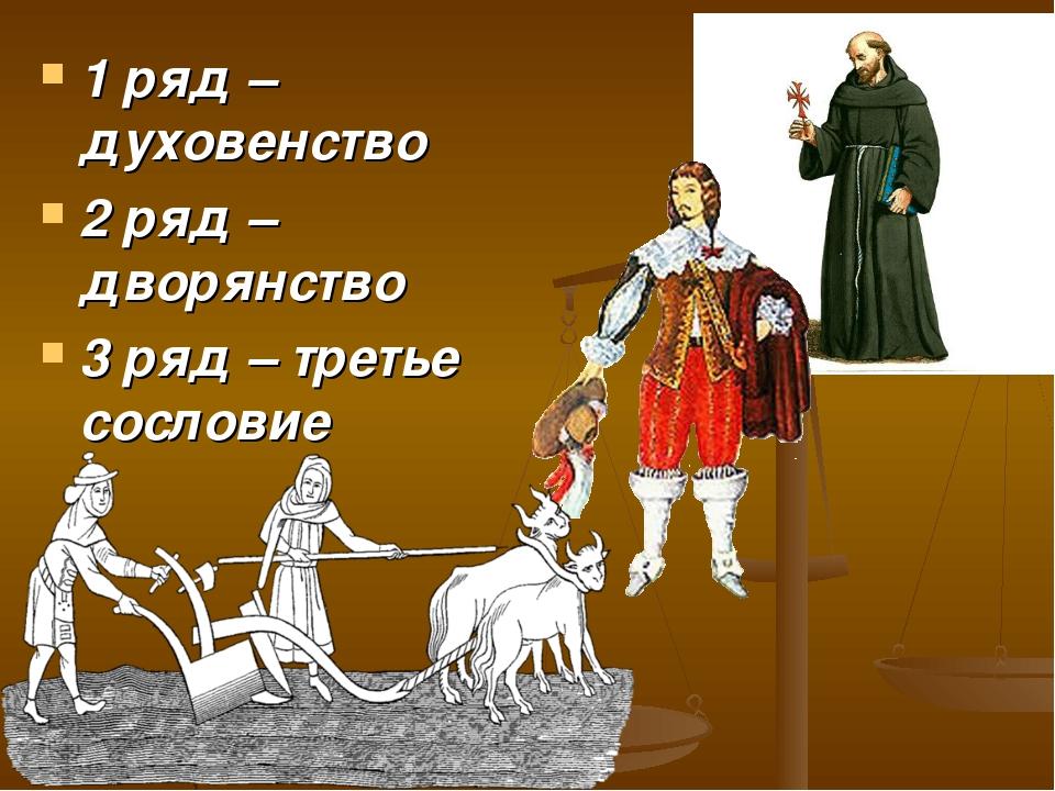 1 ряд – духовенство 2 ряд – дворянство 3 ряд – третье сословие