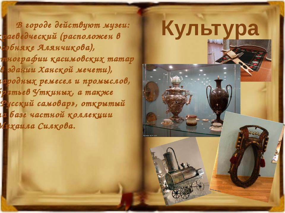В городе действуют музеи: краеведческий (расположен в особняке Алянчикова),...