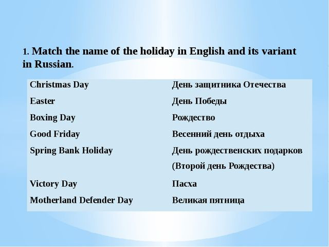 1. Match the name of the holiday in English and its variant in Russian. Chris...