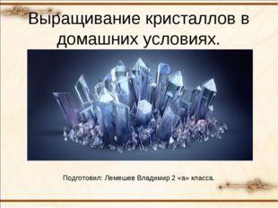 Выращивание кристаллов в домашних условиях. Подготовил: Лемешев Владимир 2 «а