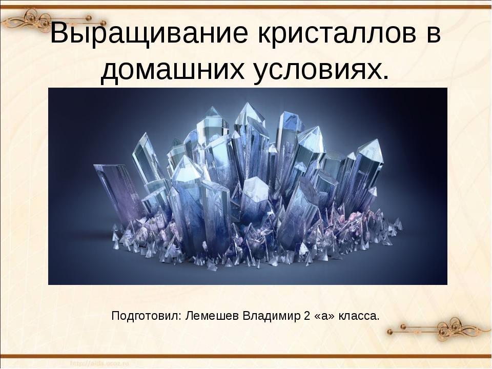 Выращивание кристаллов в домашних условиях. Подготовил: Лемешев Владимир 2 «а...