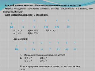 Каждый элемент массива обозначается именем массива и индексом. Индекс определ