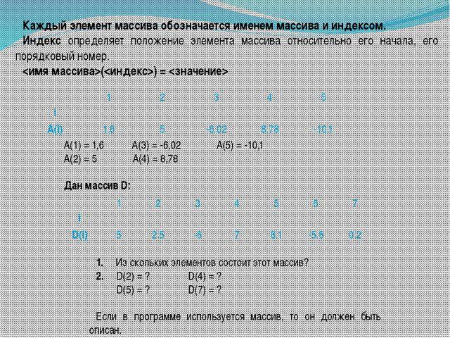 Каждый элемент массива обозначается именем массива и индексом. Индекс определ...