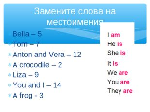 Bella – 5 Tom – 7 Anton and Vera – 12 A crocodile – 2 Liza – 9 You and I – 14