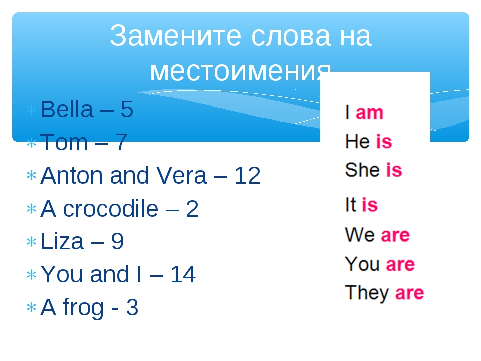 Bella – 5 Tom – 7 Anton and Vera – 12 A crocodile – 2 Liza – 9 You and I – 14...