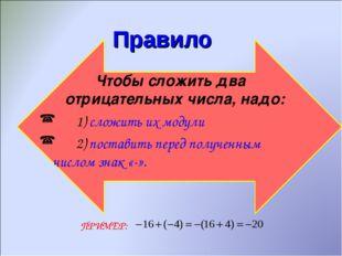 Правило Чтобы сложить два отрицательных числа, надо: 1) сложить их модули 2)