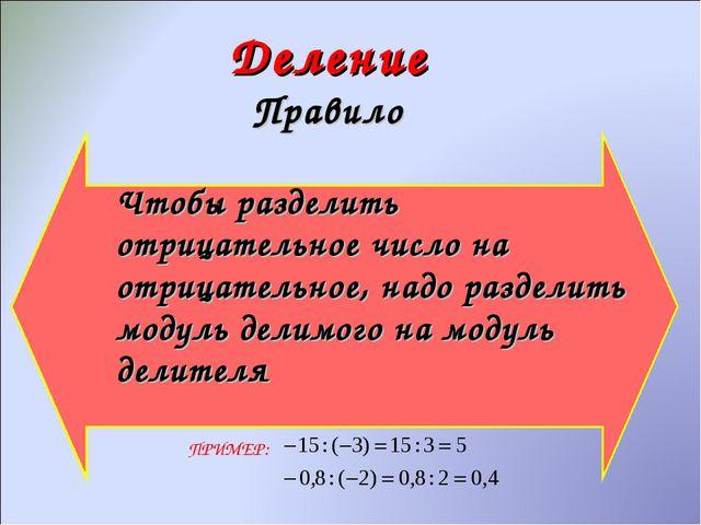 Деление Правило Чтобы разделить отрицательное число на отрицательное, надо р...