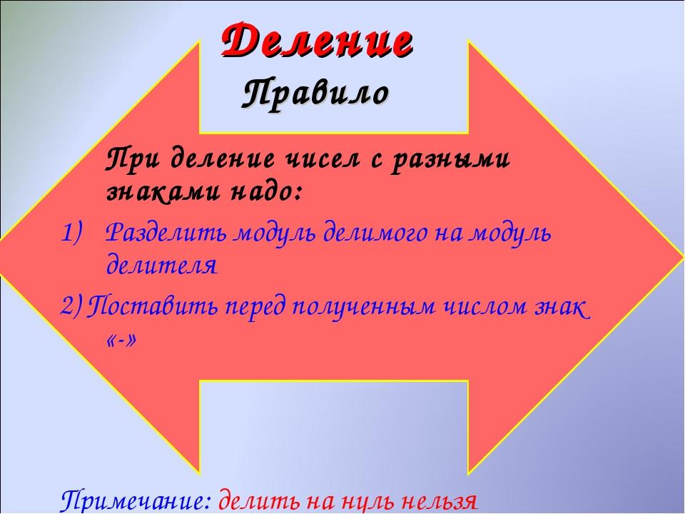 Деление Правило При деление чисел с разными знаками надо: Разделить модуль д...