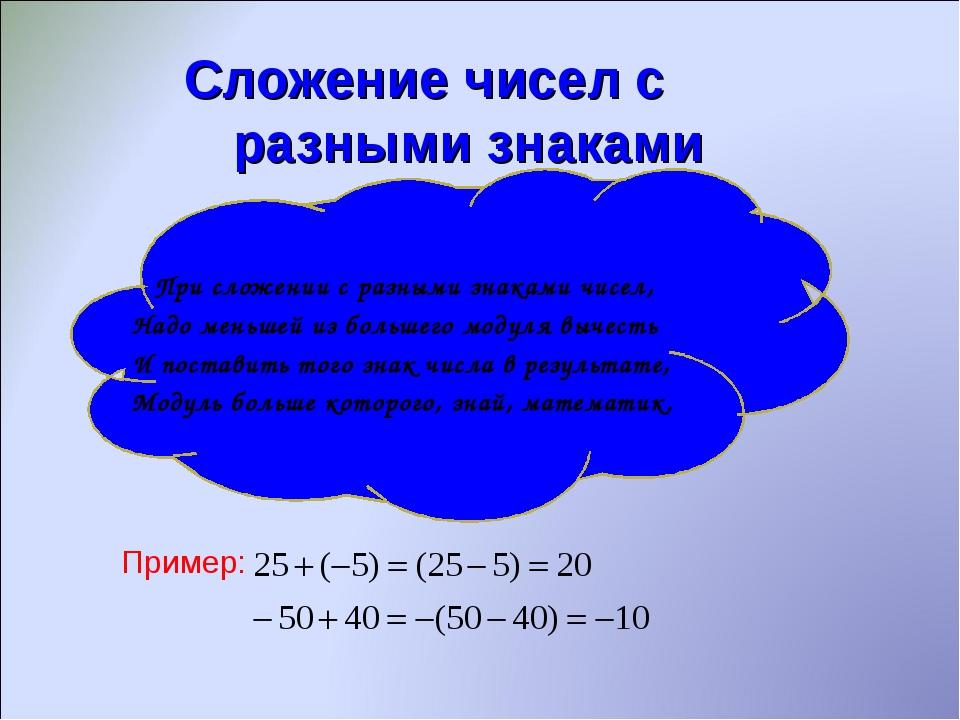 Сложение чисел с разными знаками При сложении с разными знаками чисел, Надо...