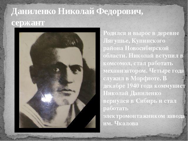 Даниленко Николай Федорович, сержант Родился и вырос в деревне Лягушье, Купин...