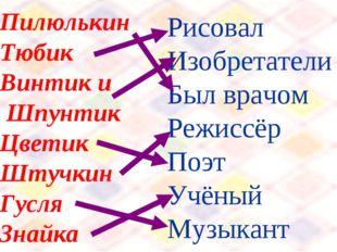 Пилюлькин Тюбик Винтик и Шпунтик Цветик Штучкин Гусля Знайка Рисовал Изобрета