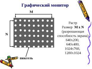 Графический монитор N M пиксель Растр Размер M x N (разрешающая способность э