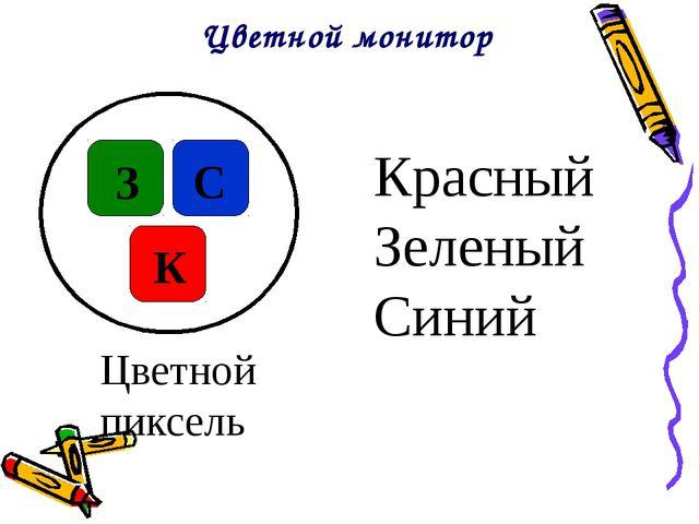 Цветной монитор З С К Цветной пиксель Красный Зеленый Синий