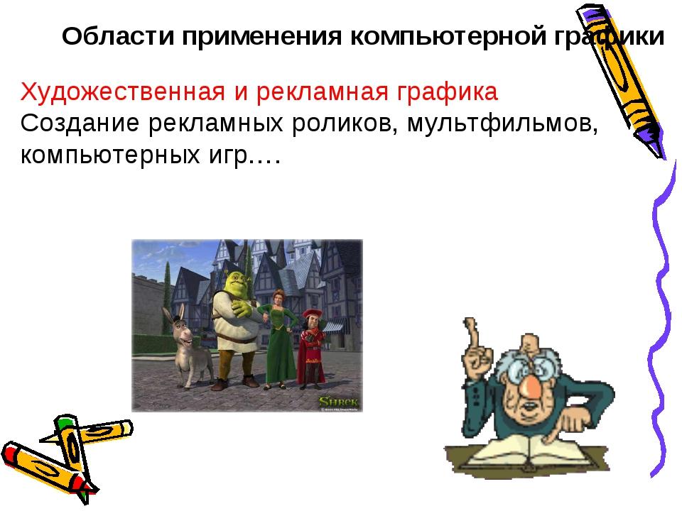 Области применения компьютерной графики Художественная и рекламная графика Со...