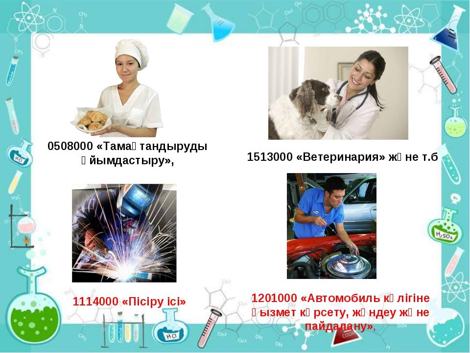 1513000 «Ветеринария» және т.б 0508000 «Тамақтандыруды ұйымдастыру», 1201000...