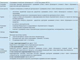 Паспорт проекта Тема проекта «Оцениваниеустнойречиобучающихся5 – 9 классов в