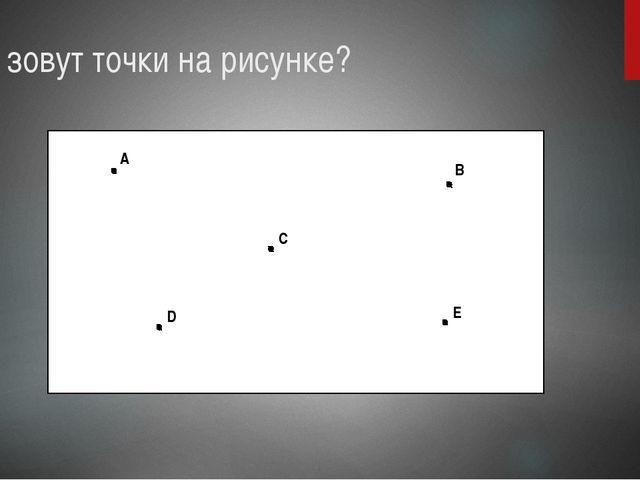 Как зовут точки на рисунке? A B C D E