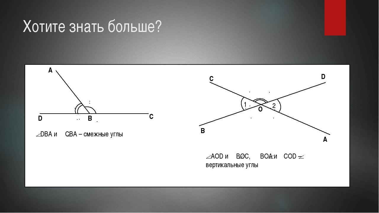 Хотите знать больше? A D C B DBA и CBA – смежные углы O C D A B AOD и BOC, BO...