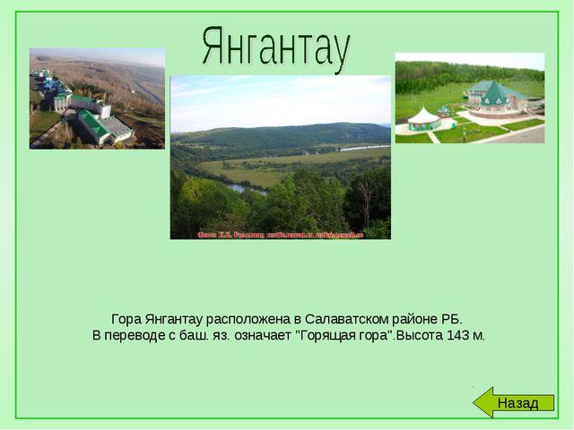 Гора Янгантау расположена в Салаватском районе РБ. В переводе с баш. яз. озн...