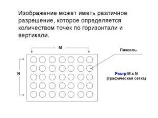 Изображение может иметь различное разрешение, которое определяется количество