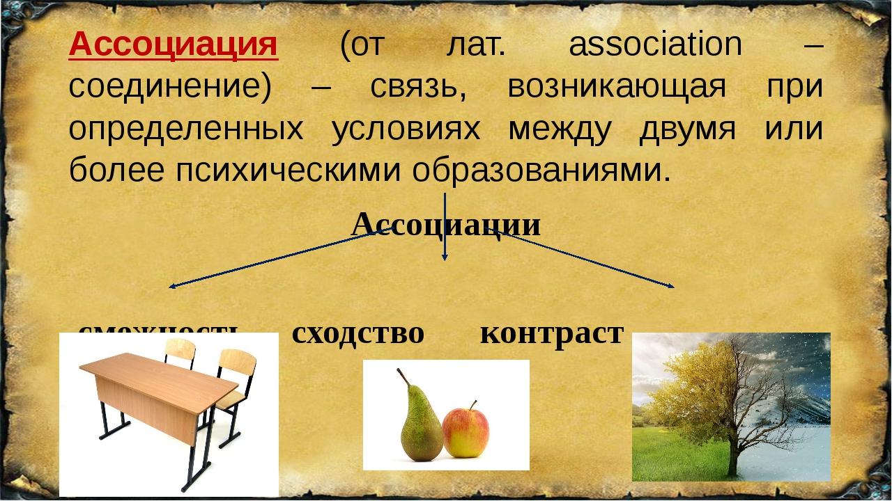 Ассоциация (от лат. association – соединение) – связь, возникающая при опреде...