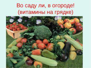 Во саду ли, в огороде! (витамины на грядке)