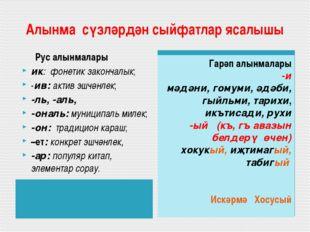 Алынма сүзләрдән сыйфатлар ясалышы Рус алынмалары ик: фонетик закончалык; -и