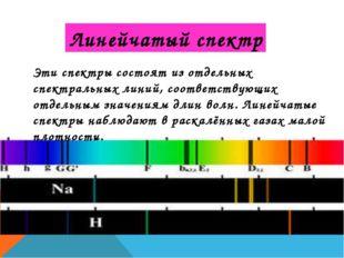 Линейчатый спектр Эти спектры состоят из отдельных спектральных линий, соотве